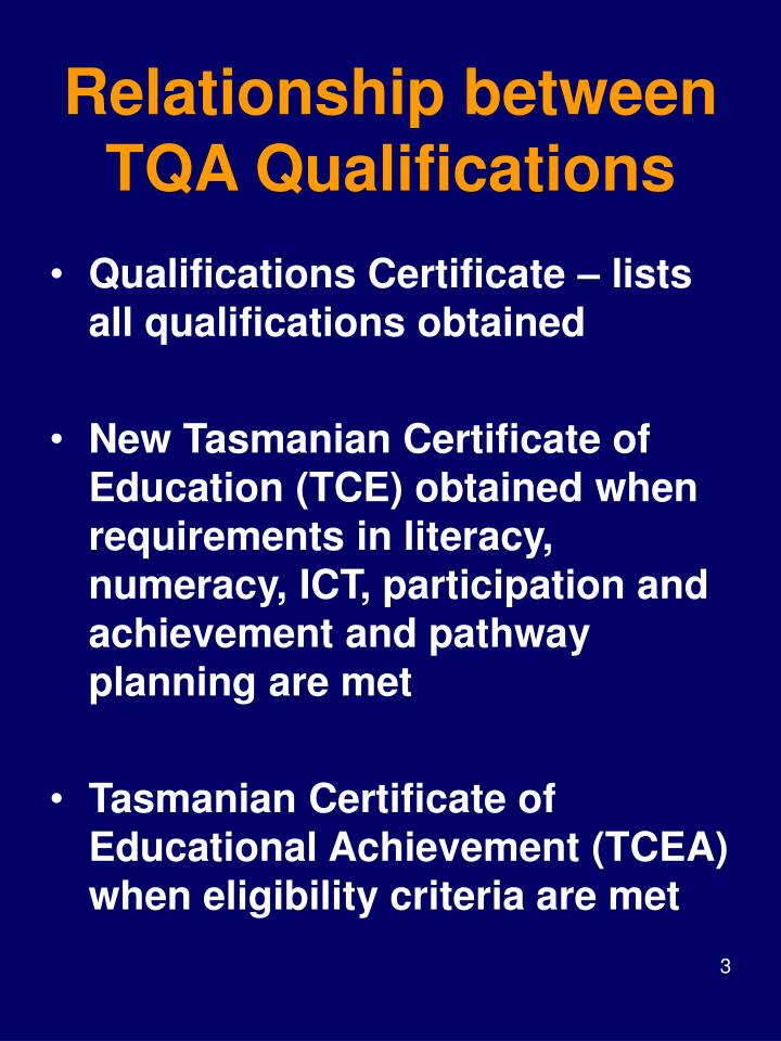 Relationship between tqa qualifications