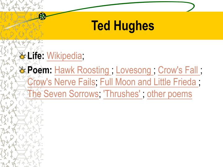 the seven sorrows ted hughes