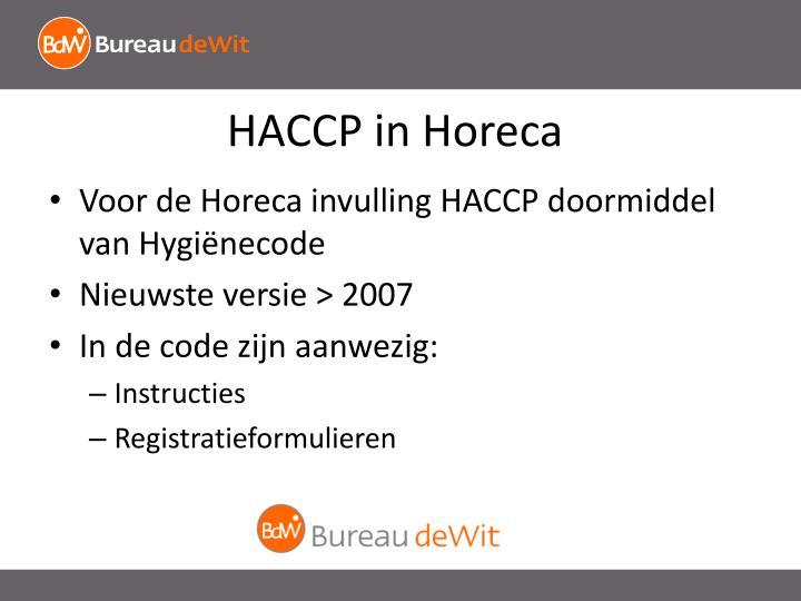 HACCP in Horeca