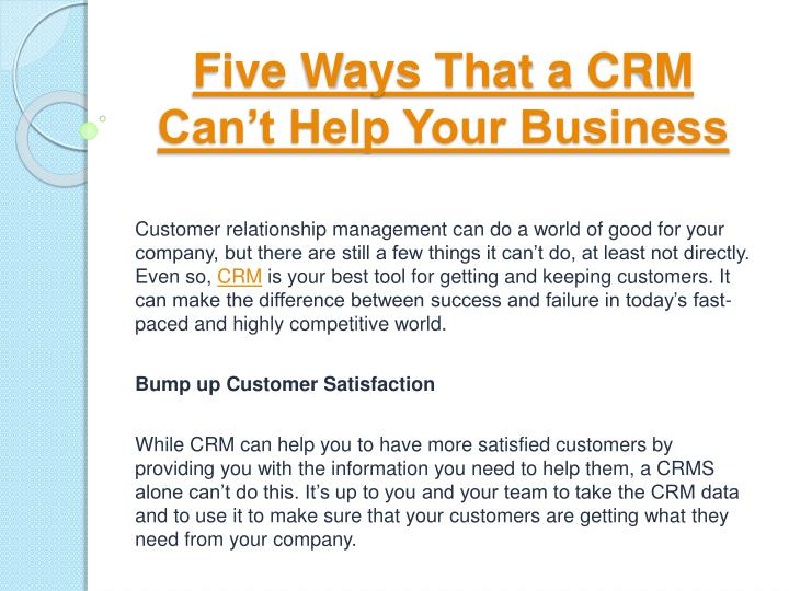 Five ways that a crm can t help your business