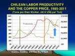 chilean labor productivity and the copper price 1985 2011 tons per own worker 2012 us per ton2