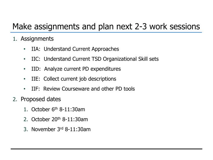 Make assignments and plan next 2-3 work sessions