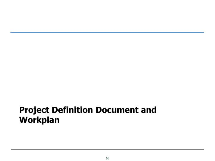 Project Definition Document and Workplan