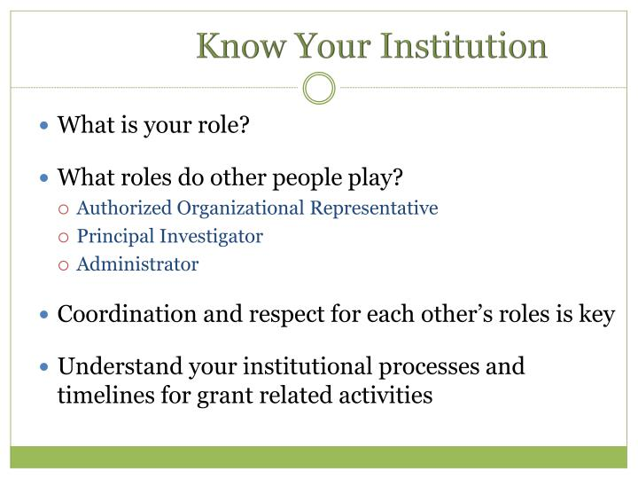 Know Your Institution