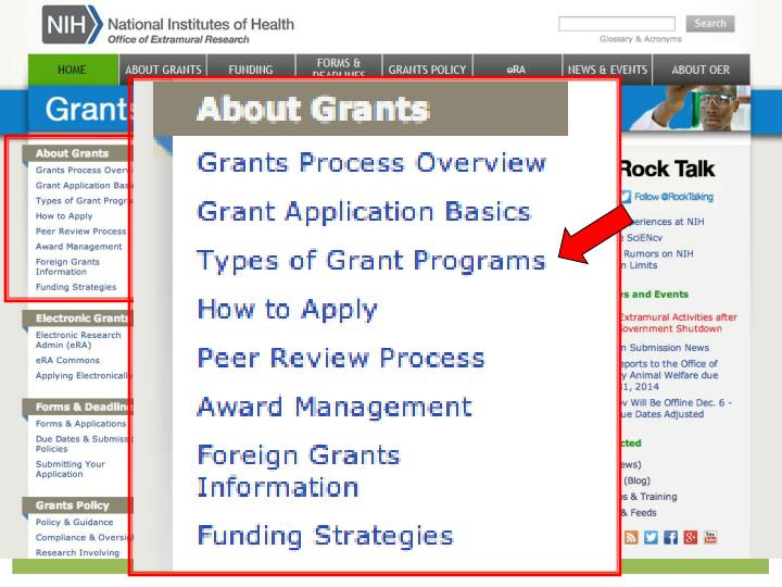 Types of grant Programs link