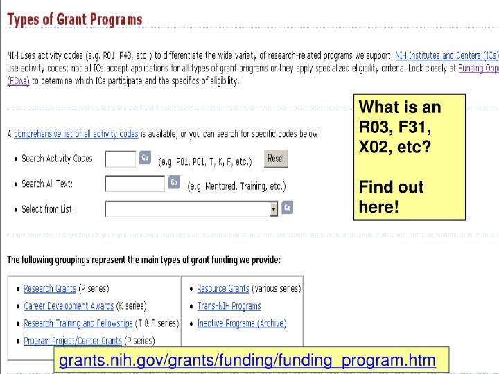 Types of grant programs page
