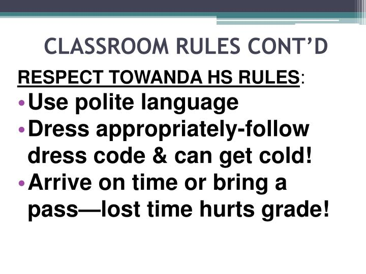 Classroom rules cont d1
