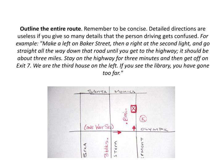 Outline the entire route