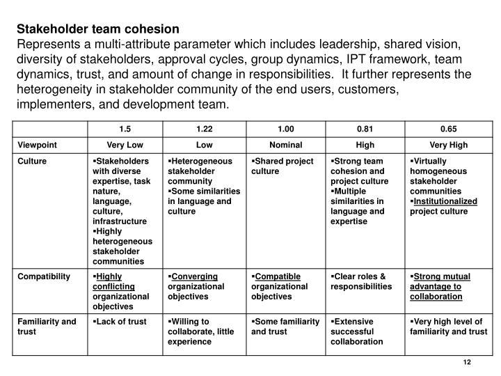 Stakeholder team cohesion