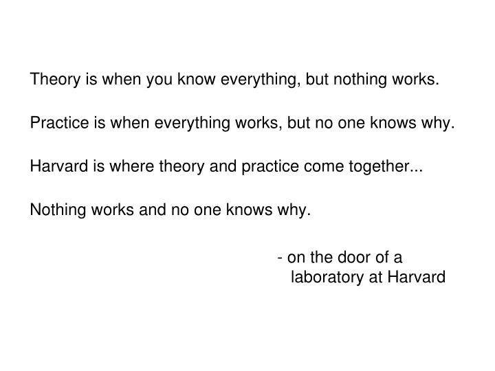 Theory is when you know everything, but nothing works.