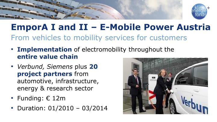 EmporA I and II – E-Mobile Power Austria