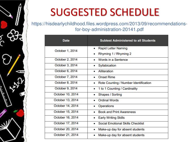 SUGGESTED SCHEDULE