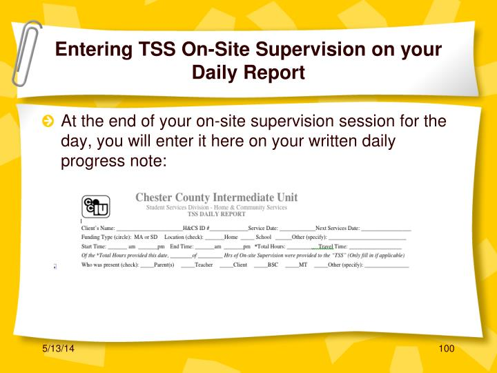 Entering TSS On-Site Supervision on your