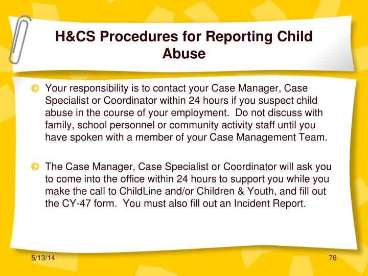 H&CS Procedures for Reporting Child Abuse