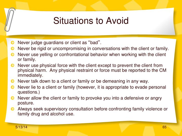 Situations to Avoid