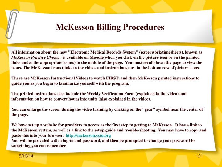 McKesson Billing Procedures