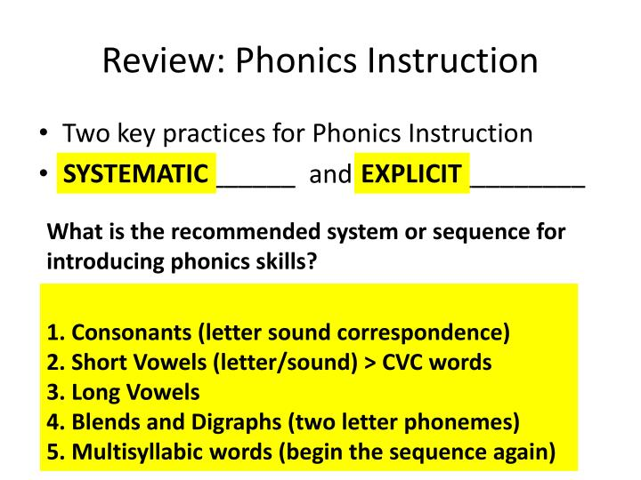 Review: Phonics Instruction