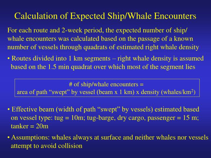 Calculation of Expected Ship/Whale Encounters