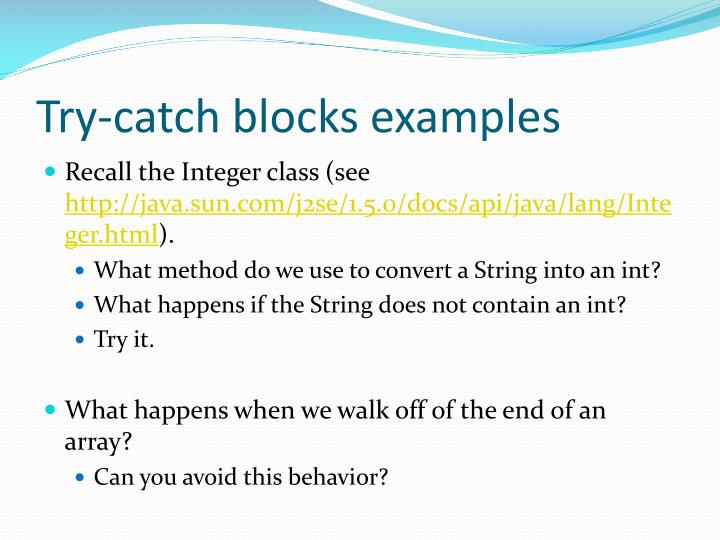 Try-catch blocks examples