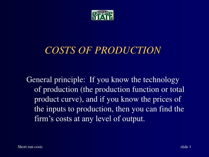 costs of production n.