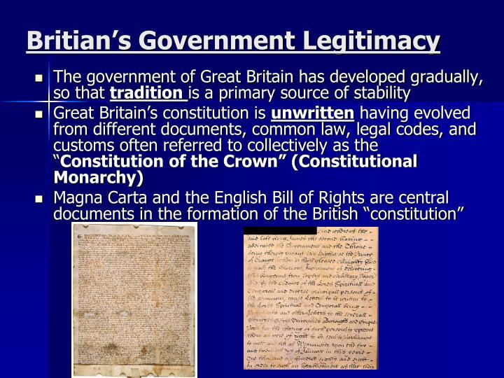 Britian s government legitimacy