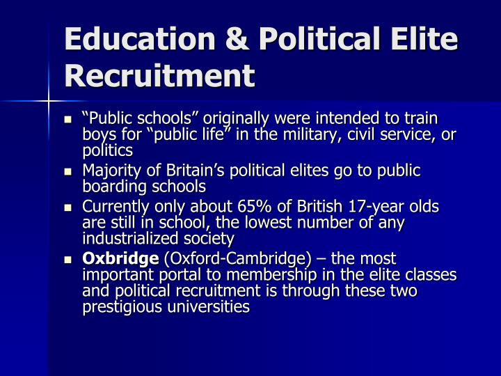 Education & Political Elite Recruitment