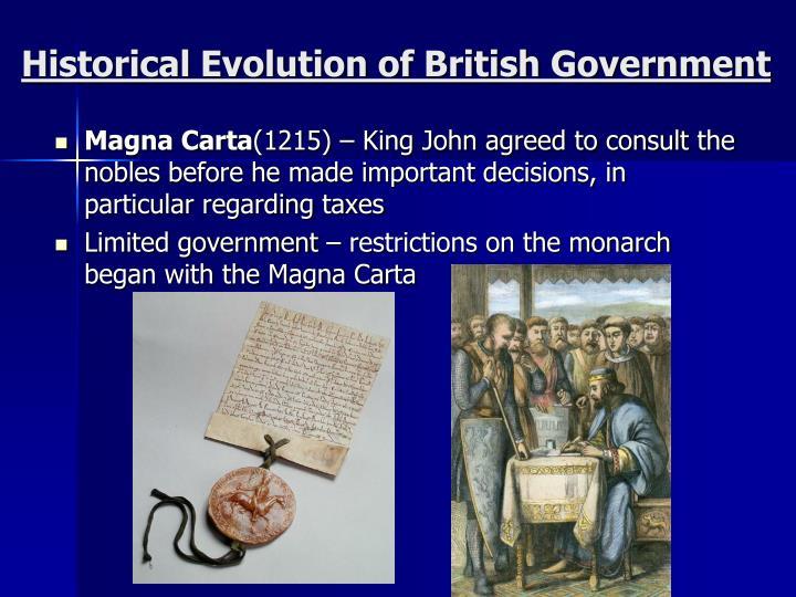Historical evolution of british government