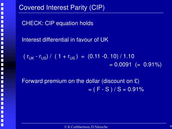 Covered Interest Parity (CIP)