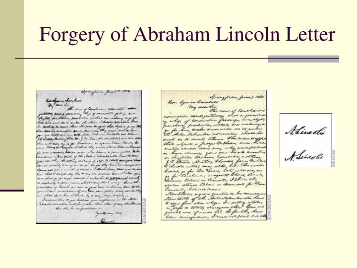 Forgery of Abraham Lincoln Letter
