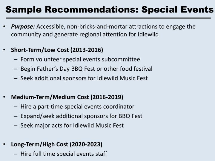 Sample Recommendations: Special Events