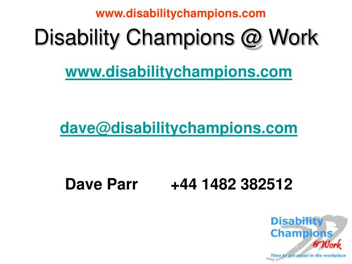 Disability Champions @ Work