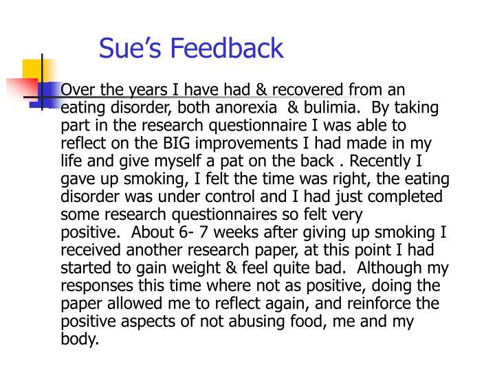 Sue's Feedback