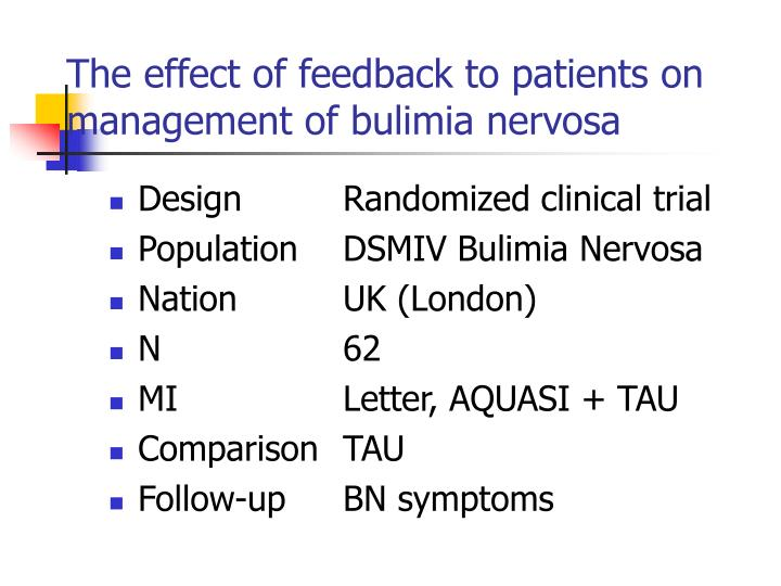 The effect of feedback to patients on management of bulimia nervosa