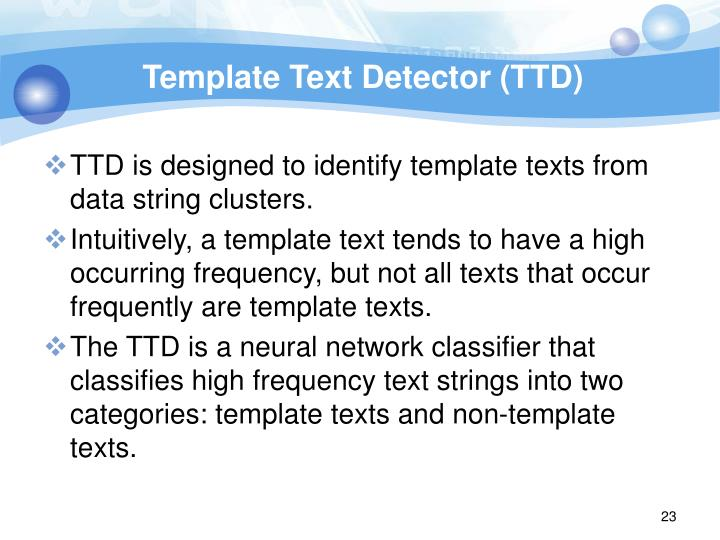 Template Text Detector (TTD)