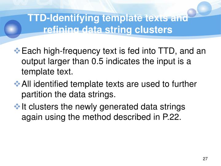 TTD-Identifying template texts and refining data string clusters