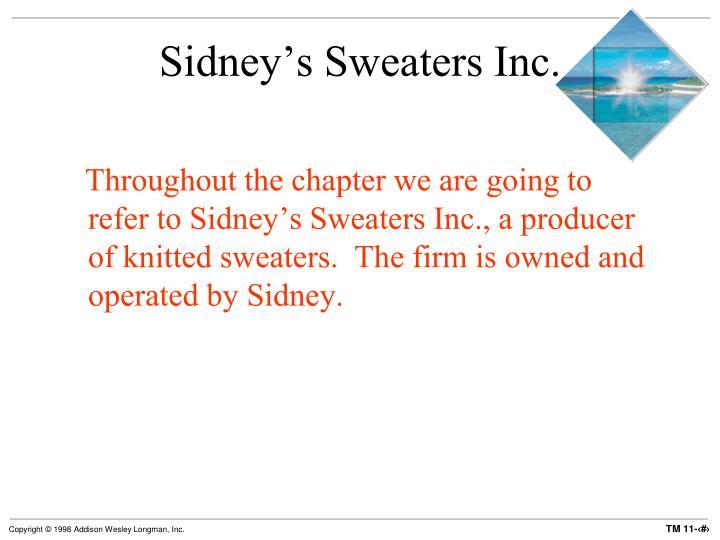 Sidney's Sweaters Inc.