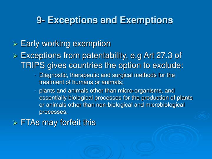 9- Exceptions and Exemptions