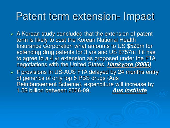 Patent term extension- Impact