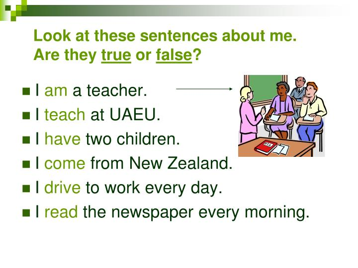 Look at these sentences about me are they true or false
