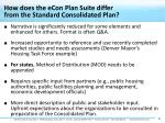 how does the econ plan suite differ from the standard consolidated plan