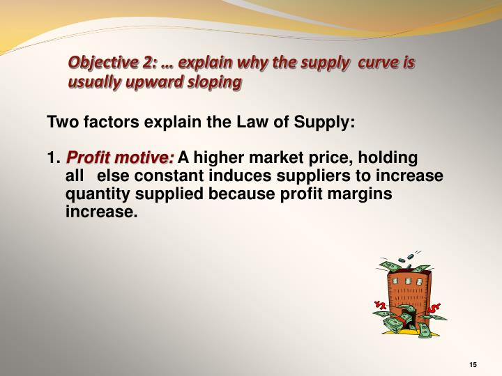 Objective 2: … explain why the supply  curve is usually upward sloping
