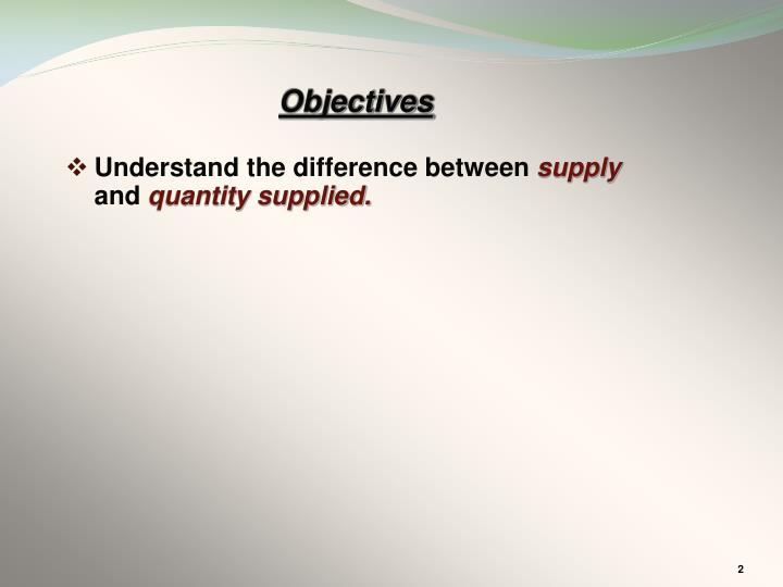 Understand the difference between supply and quantity supplied