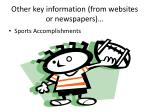 other key information from websites or newspapers
