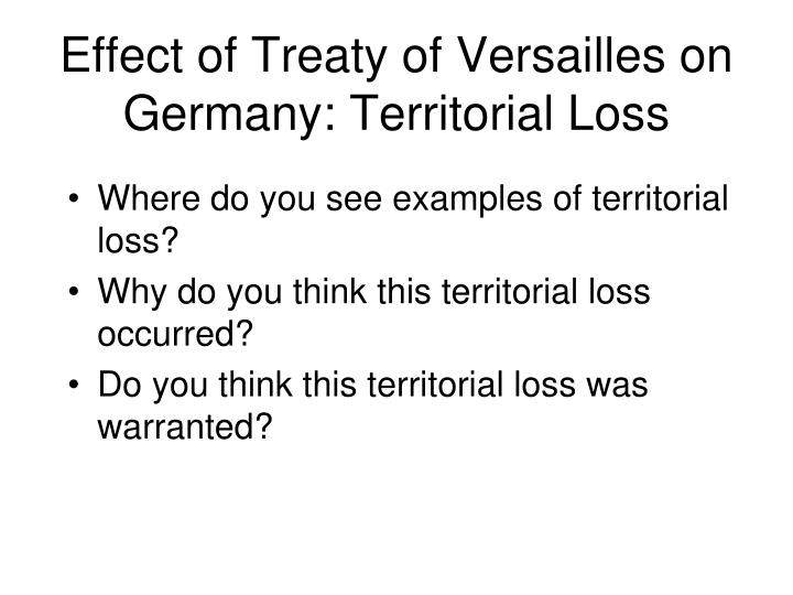 Effect of Treaty of Versailles on Germany: Territorial Loss
