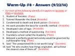 warm up 8 answers 9 22 14