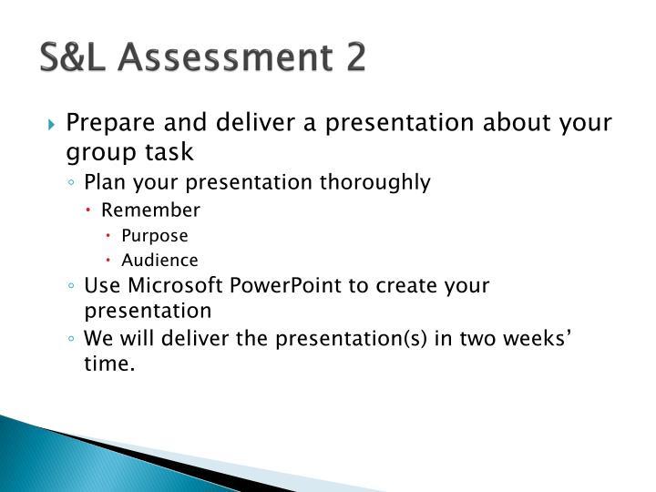 S&L Assessment 2