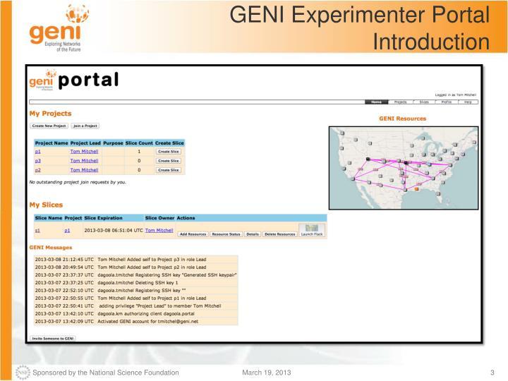 Geni experimenter portal introduction