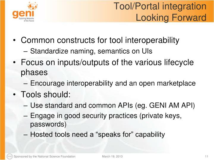 Tool/Portal integration