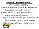 what is the likely impact government spending