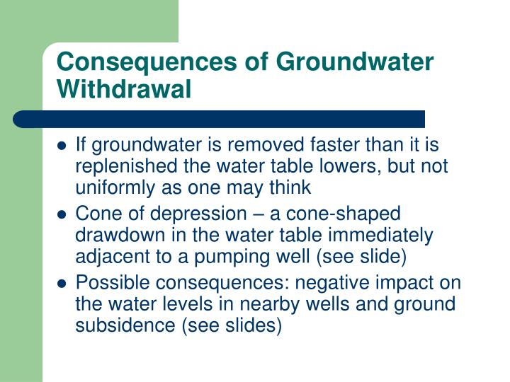 Consequences of Groundwater Withdrawal